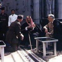 1945 February 14 US President Roosevelt Meets with King Saud of Saudi Arabia