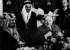 King Abdul Aziz (Ibn Saud) attending official dinner with Sir Winston Churchill, Lake Qaroun, Egypt, 17 Feb 1945